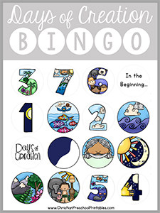 Days Of Creation Bible Bingo Game