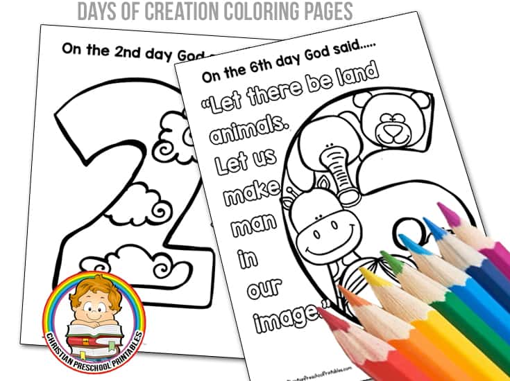 Days of Creation Coloring Pages - Christian Preschool ...