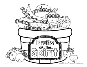 Fruit Of The Spirit Basket Chart Coloring Page