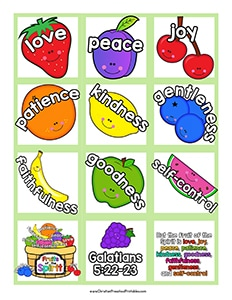 photo regarding Fruits of the Spirit Printable called Fruit of the Spirit Printables - Christian Preschool Printables