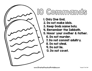 graphic relating to Ten Commandments Printable Activities referred to as 10 Commandment Bible Printable - Christian Preschool Printables