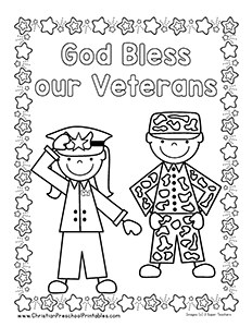 god bless our veterans coloring page