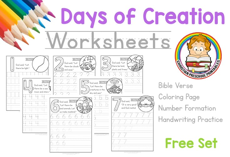 Days of Creation Worksheets - Christian Preschool Printables