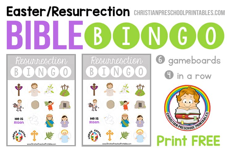 picture about Free Printable Bible Bingo Cards titled Easter / Resurrection Bible Bingo Recreation - Christian Preschool