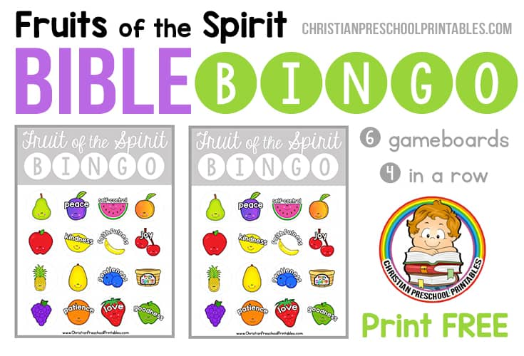 Fruits Of The Spirit Bible Bingo Game on Alphabet Charts For Kids