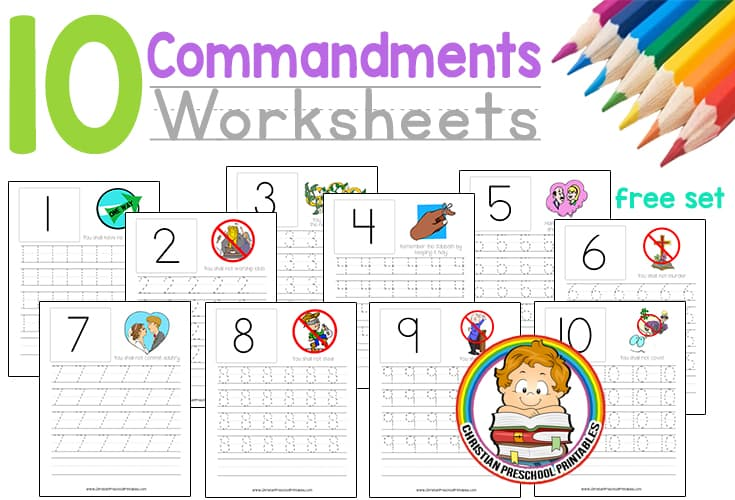 graphic regarding Ten Commandments Printable Activities named 10 Commandment Worksheets - Christian Preschool Printables