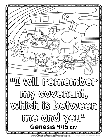 Noahs ark bible coloring sheet