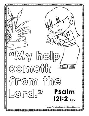 princess saves moses bible verse coloring - Psalm 56 3 Coloring Page
