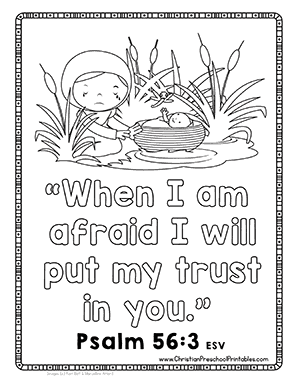 Baby Moses In The Basket Bible Verse Coloring