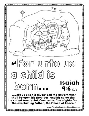 nativity scene bible coloring page