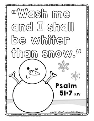 Snow Winter God Bible Activity Color Pages