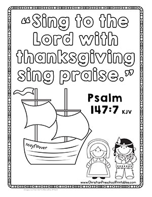 Thanksgiving Mayflower Bible Coloring Page