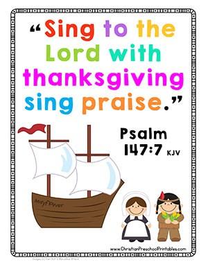 Thanksgiving Mayflower Bible Verse Chart