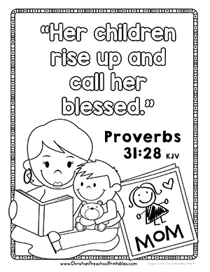 Free preschool coloring pages for christians ~ Mother's Day Bible Printables - Christian Preschool Printables