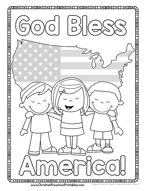 Free preschool coloring pages for christians ~ Fourth of July Bible Printables - Christian Preschool ...