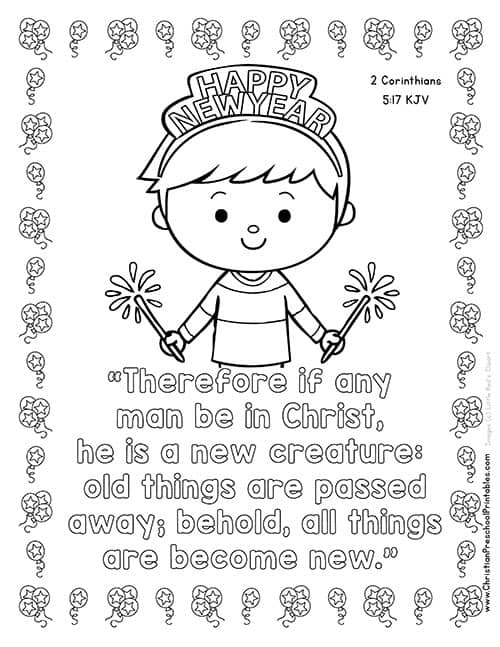 Free preschool coloring pages for christians ~ New Year's Bible Printables - Christian Preschool Printables