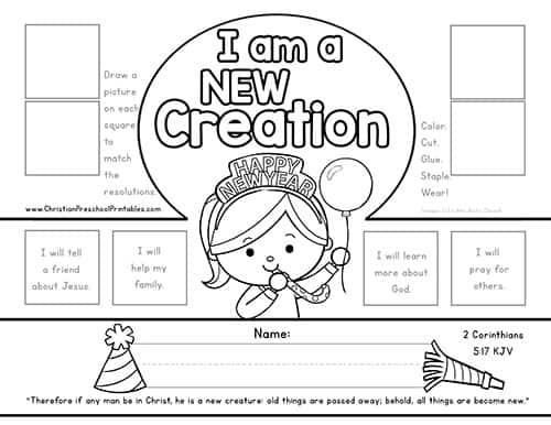 New Years Bible Printables Christian Preschool Printables